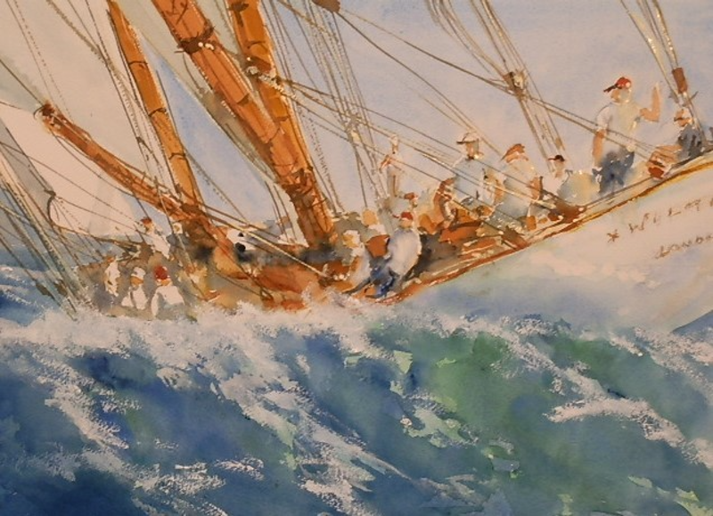 (CreativeWork) Ocean Racing  by Phillip Mylecharane. watercolour. Shop online at Bluethumb.
