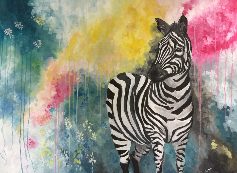(CreativeWork) Zebra 1 by Cherry Demir. oil-painting. Shop online at Bluethumb.