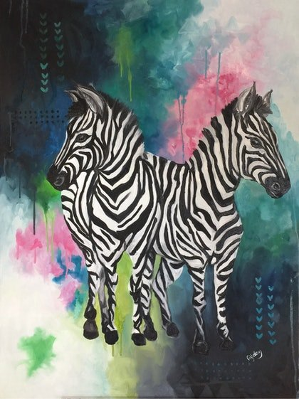 (CreativeWork) Zebra Siblings by Cherry Demir. oil-painting. Shop online at Bluethumb.