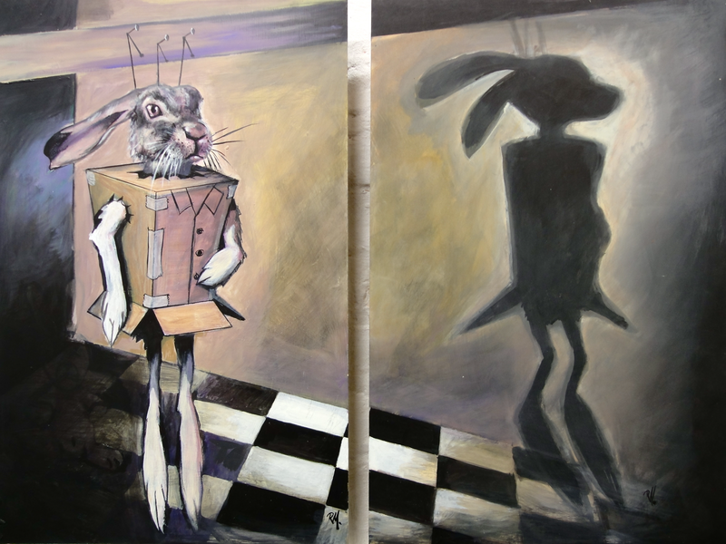 (CreativeWork) Toy Rabbit and Shadow (diptych) by Ross Morgan. arcylic-painting. Shop online at Bluethumb.