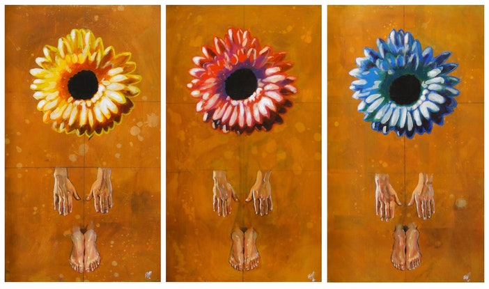 (CreativeWork) Purity (triptych) by Ross Morgan. Acrylic Paint. Shop online at Bluethumb.