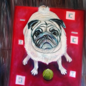 (CreativeWork) Lets play ball by Joanne Scriha. oil-painting. Shop online at Bluethumb.