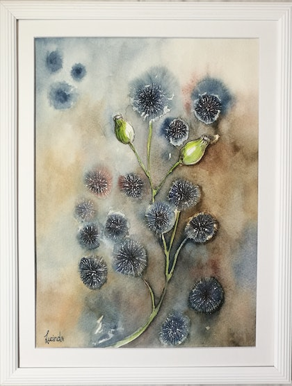 (CreativeWork) Dandelion Wishes by Lucinda Leveille. watercolour. Shop online at Bluethumb.