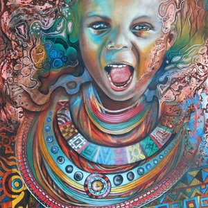 "(CreativeWork) ""Ulwazi"" Surreal African Child Portrait Oil Painting by Bonny Hut. oil-painting. Shop online at Bluethumb."