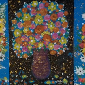 """(CreativeWork)  """"Star lit Flowers"""" by Catherine Walker. mixed-media. Shop online at Bluethumb."""