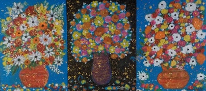 (CreativeWork)  Star lit Flowers by catherine walker. mixed-media. Shop online at Bluethumb.