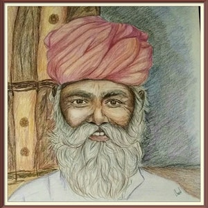 (CreativeWork) Portrait of Indian man with turban by Chandana Manjunath. drawing. Shop online at Bluethumb.