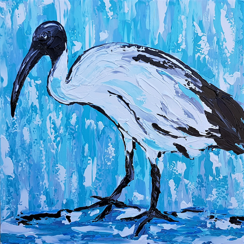 (CreativeWork) Beautiful Bin Chicken  by Lisa Fahey. arcylic-painting. Shop online at Bluethumb.