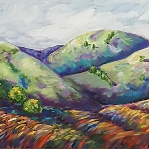 (CreativeWork) Rolling hills by Krysten Taprell. oil-painting. Shop online at Bluethumb.