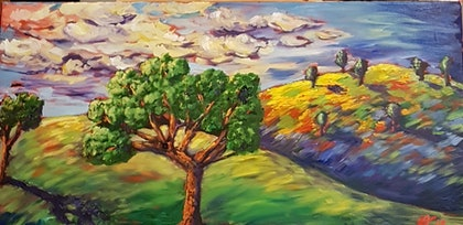(CreativeWork) Sunset by Krysten Taprell. oil-painting. Shop online at Bluethumb.