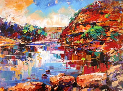 (CreativeWork) Ross Graham Lookout,  Kalbarri WA by Jos Coufreur. arcylic-painting. Shop online at Bluethumb.