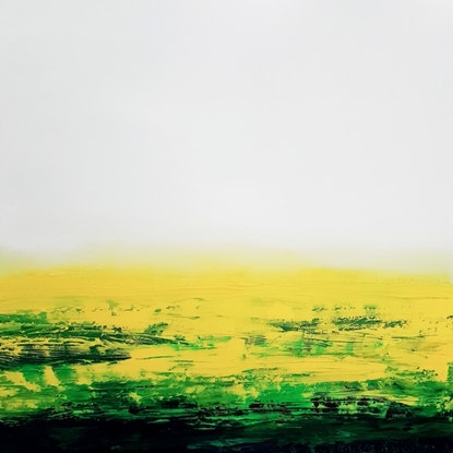 Bright yellow and white rural landscape