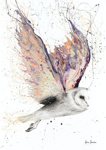 (CreativeWork) Heart Winged Owl - Limited Edition Print - A3 size - Ed. 4 of 100 by Ashvin Harrison. print. Shop online at Bluethumb.