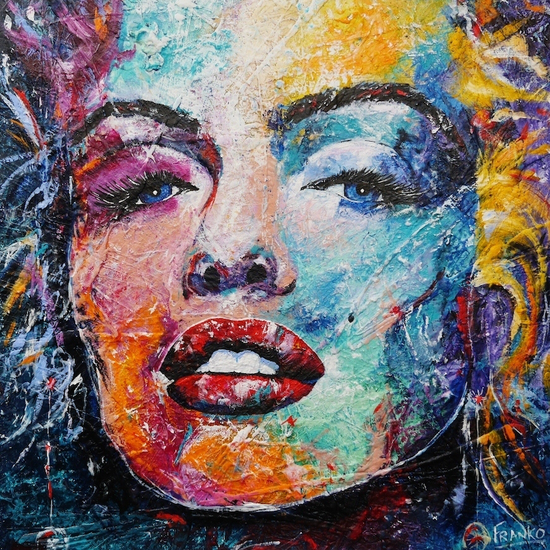 (CreativeWork) Beauty Incorporated 120cm x 120cm.  Huge textured Ink, Acrylics and gloss Abstract Realism Marilyn Monroe by _Franko _. arcylic-painting. Shop online at Bluethumb.