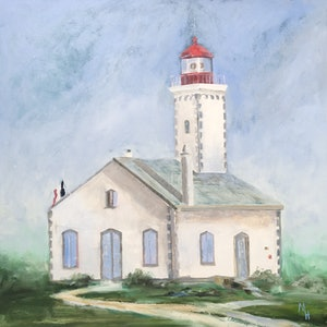 (CreativeWork) Le phare français by Meredith Howse. oil-painting. Shop online at Bluethumb.