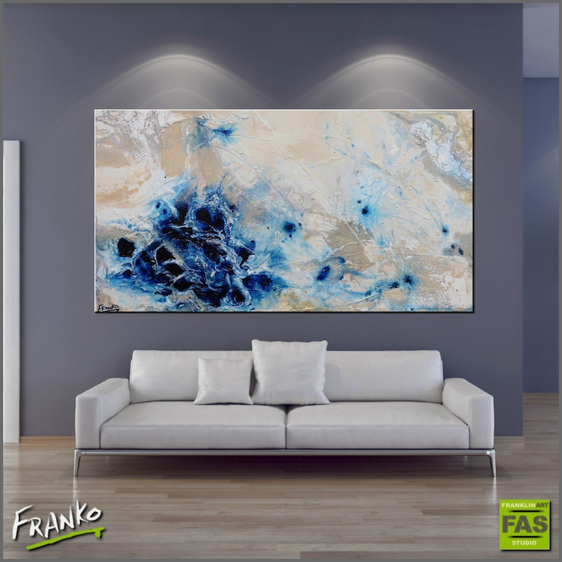 (CreativeWork) Desert Pools 190cm x 100cm  Huge textured acrylic abstract gloss finish Landscape by _Franko _. arcylic-painting. Shop online at Bluethumb.