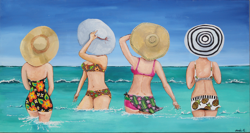 (CreativeWork) Sunhats at Sea by Andrea Berry. arcylic-painting. Shop online at Bluethumb.