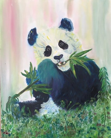 (CreativeWork) Panda by Cherry Demir. oil-painting. Shop online at Bluethumb.