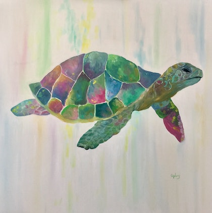 (CreativeWork) Sea Turtle by Cherry Demir. oil-painting. Shop online at Bluethumb.