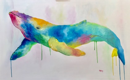 (CreativeWork) Whale by Cherry Demir. oil-painting. Shop online at Bluethumb.
