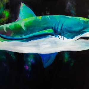 (CreativeWork) Shark by Cherry Demir. oil-painting. Shop online at Bluethumb.