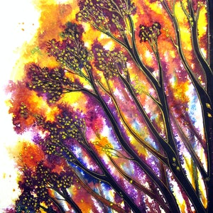 (CreativeWork) Sunlit Trees by Linda Callaghan. mixed-media. Shop online at Bluethumb.