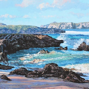 (CreativeWork) NORFOLK ISLAND SHORELINE by Margaret HADFIELD. arcylic-painting. Shop online at Bluethumb.