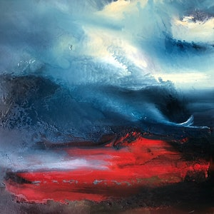 (CreativeWork) Red Beach by Joanne Duffy. oil-painting. Shop online at Bluethumb.
