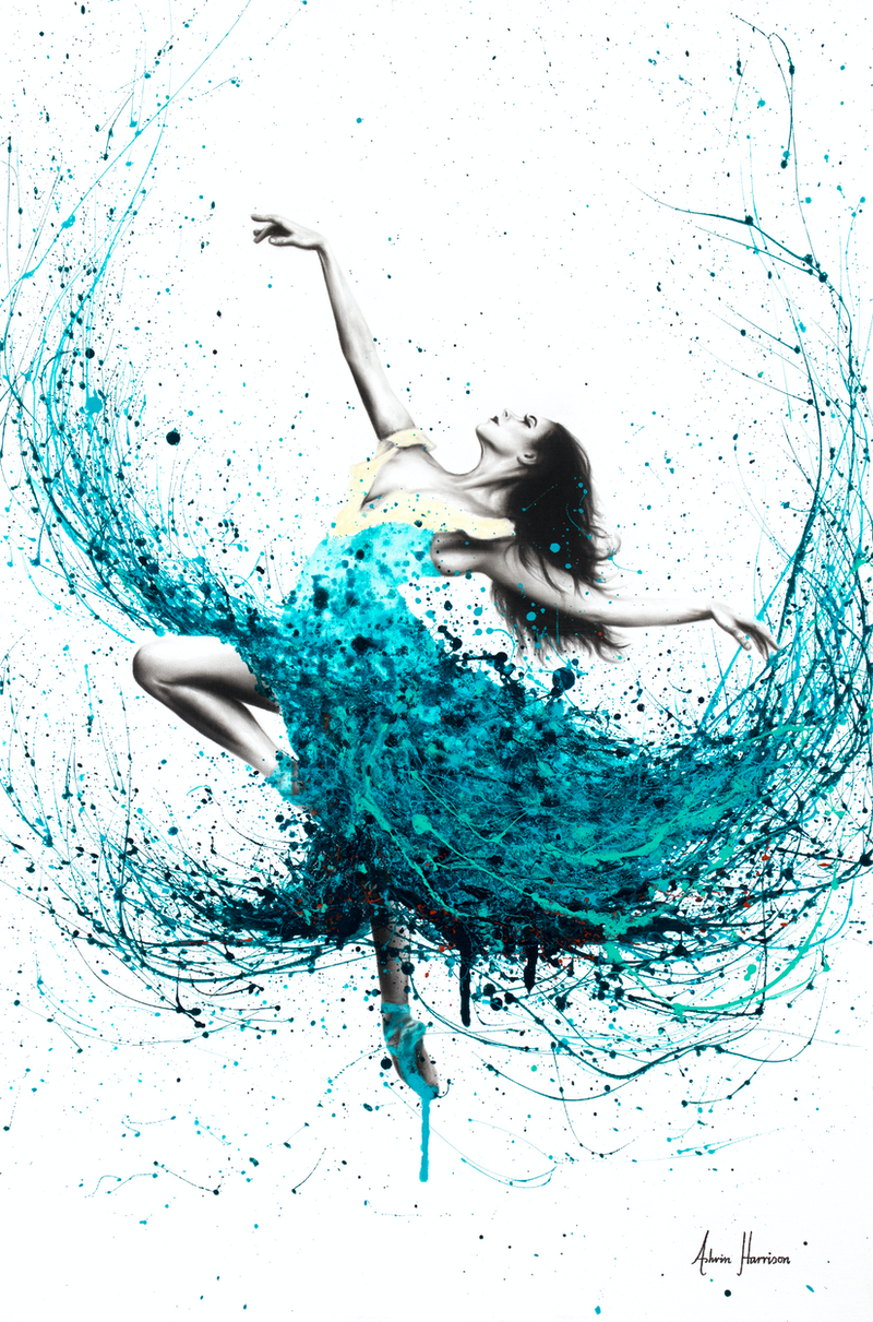 (CreativeWork) Teal Dancer- Commission by Ashvin Harrison. arcylic-painting. Shop online at Bluethumb.