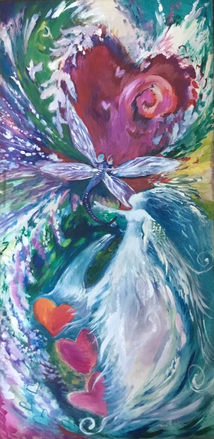 (CreativeWork) Embrace by Sharon Weir. arcylic-painting. Shop online at Bluethumb.