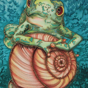 (CreativeWork) Hang on Frog by Kim Michelle Toft. other-media. Shop online at Bluethumb.