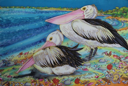 (CreativeWork) Perfect Pelican Pair by Kim Michelle Toft. other-media. Shop online at Bluethumb.