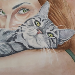 (CreativeWork) Cat  heaven by Svetlana Cook. watercolour. Shop online at Bluethumb.