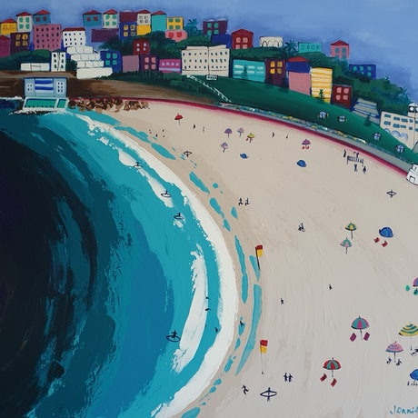 (CreativeWork) Bondi Beach. by Jennifer Baird. Acrylic Paint. Shop online at Bluethumb.