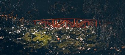 (CreativeWork) Japanese Lotus Garden Bridge by Joseph Remi d'Argent. photograph. Shop online at Bluethumb.