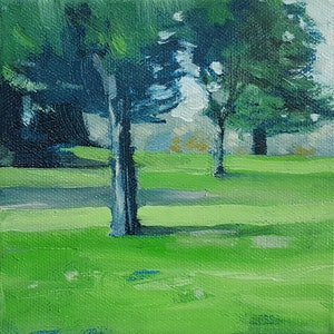 (CreativeWork) Through the Trees by Richard Burkitt. oil-painting. Shop online at Bluethumb.