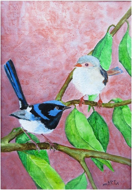 (CreativeWork) Blue Fairy Wren by Marta Blaszak-Just. mixed-media. Shop online at Bluethumb.