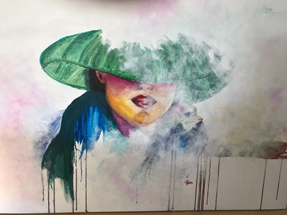 (CreativeWork) Lady in the mist.  by Cathy Raso. mixed-media. Shop online at Bluethumb.