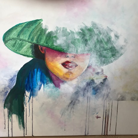 (CreativeWork) Lady in the mist.  by Cathy Raso. Mixed Media. Shop online at Bluethumb.