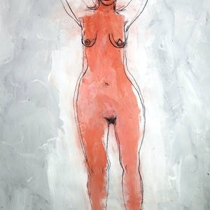 (CreativeWork) Figure in grey  by John Graham. mixed-media. Shop online at Bluethumb.