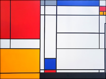 (CreativeWork) Driamon #1 - Large Colourful Abstract 120cm x 100cm - Mondrian Style by Graham Eldridge. arcylic-painting. Shop online at Bluethumb.