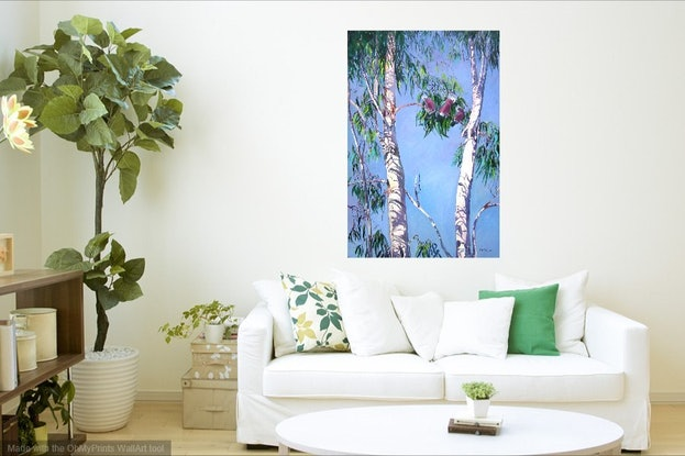 (CreativeWork) Tambo Trees with Resident locals [Galahs ] by Virginia McGowan. Oil Paint. Shop online at Bluethumb.
