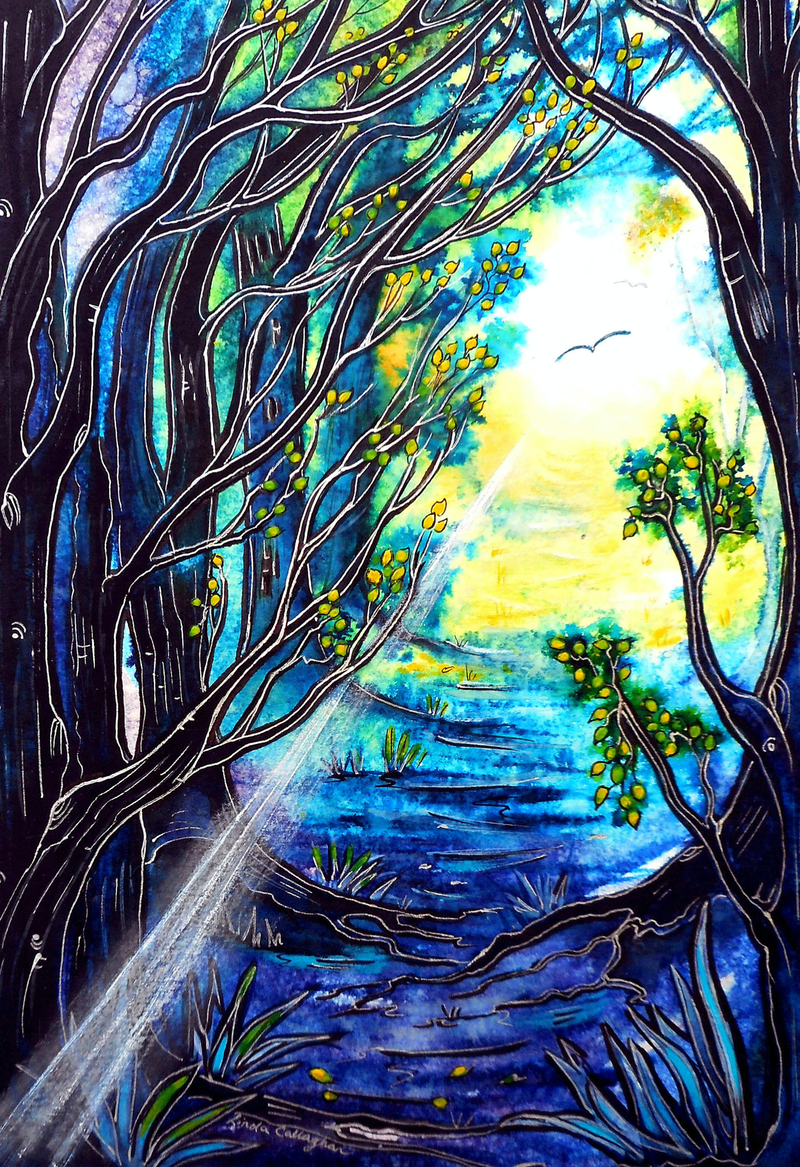 (CreativeWork) Light in the Dark by Linda Callaghan. mixed-media. Shop online at Bluethumb.