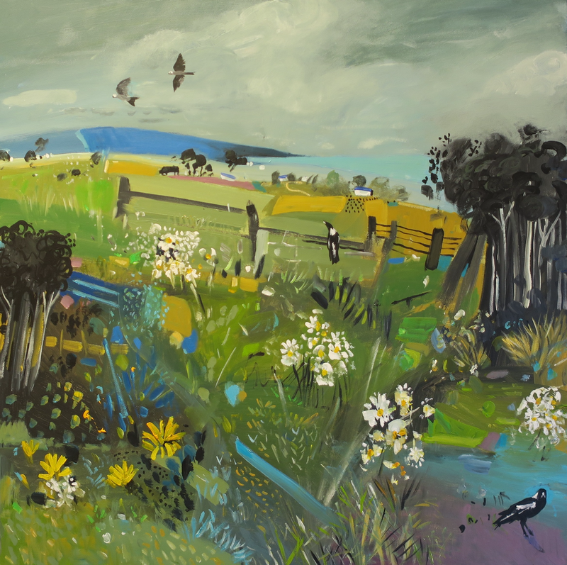 (CreativeWork) Meadow Magpies  # 2 by Susan Trudinger. arcylic-painting. Shop online at Bluethumb.