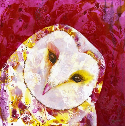 (CreativeWork) Owl Selfie by Michelle Gilks. arcylic-painting. Shop online at Bluethumb.