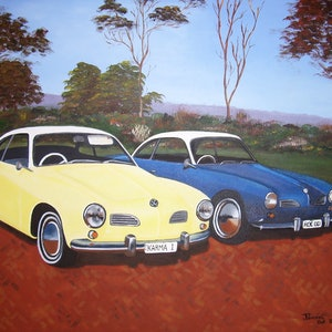(CreativeWork) Karmann Ghias  by Jacqueline Pearsell. oil-painting. Shop online at Bluethumb.