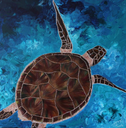 (CreativeWork) Safe In the Caribbean Sea by Jade T Fisher. Acrylic Paint. Shop online at Bluethumb.