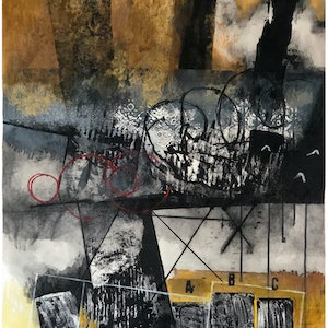 (CreativeWork) COMPOSITION NO. 170 [ GOLDEN BROWN WITH A, B & C ] 2018 by G Kustom Kuhl. mixed-media. Shop online at Bluethumb.