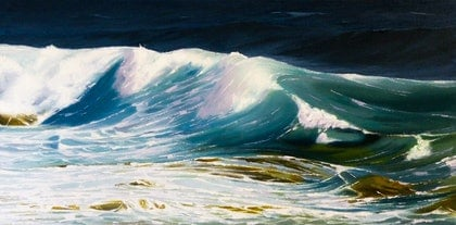 (CreativeWork) Green Wave 8 by Colin Madgwick. oil-painting. Shop online at Bluethumb.