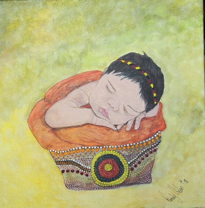 """(CreativeWork) """"Welcome baby to country Ceremony """"  by wendy Owen. mixed-media. Shop online at Bluethumb."""